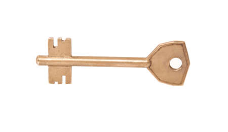 old yellow key on a white background photo