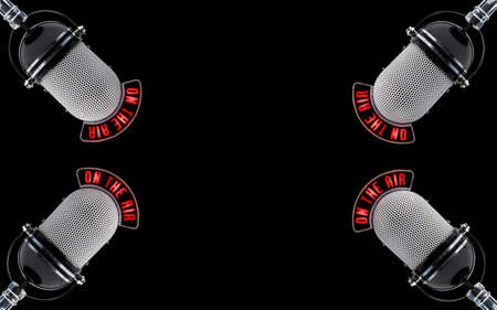 radio station: four microphones on a black background