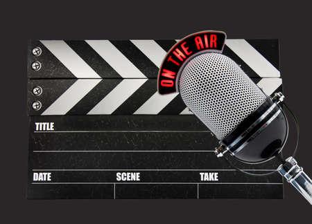 microfono radio: Pizarra de pel�cula y micr�fono