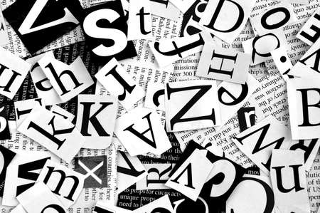 printed media: letters cut from newspaper, background