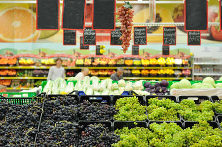 grapes on the counter in the market photo