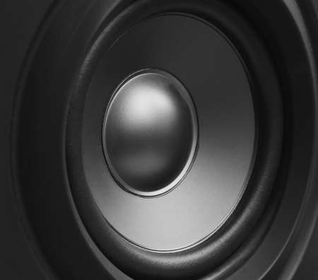 sub woofer: black and white background, the speaker