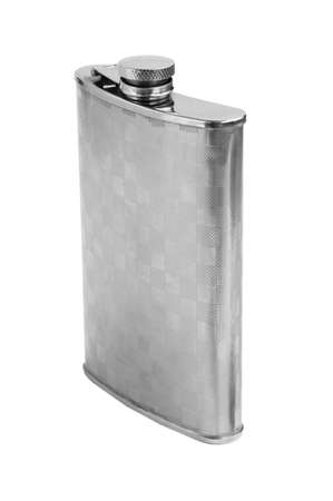 steel flask isolated on white background photo