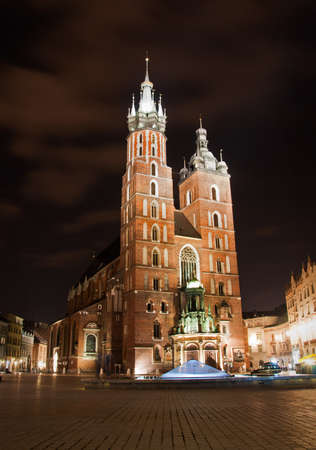 mary's: St. Marys Church at night. Krakow Poland.