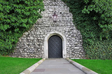old door in a stone wall photo
