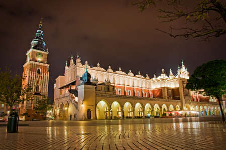 cracow: Poland, Krakow. Market Square at night. Editorial