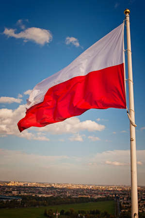 Polish flag against the sky  photo