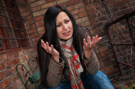 Girl in depression and frustration Stock Photo