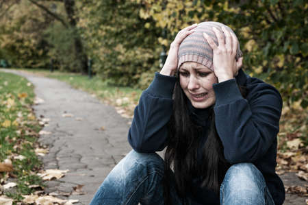 depressed woman: girl crying in depression and frustration Stock Photo