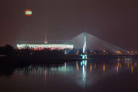 National Stadium in Warsaw at night