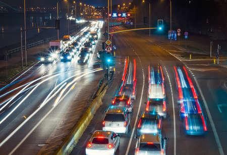 Highway at night. Poland, Warsaw. photo