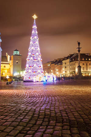 Christmas tree in the center of Warsaw