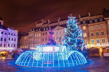 Festive market at Market Square in Warsaw at night