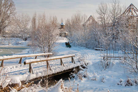 horse sleigh: winter landscape in the village Stock Photo