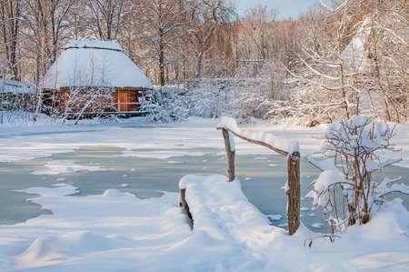beautiful winter landscape with a lake Stock Photo