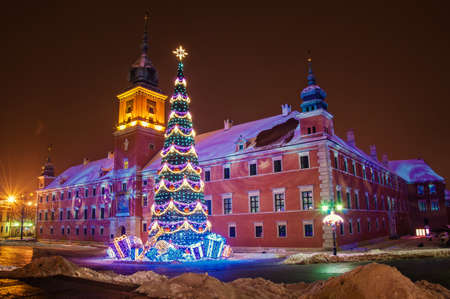 Christmas tree in the old town of Warsaw