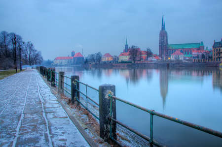 Old Town in the morning on the river Odra. Wroclaw. photo