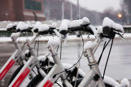 bicycle parking in Berlin in winter photo