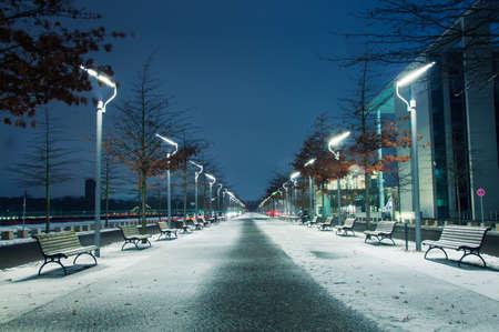 Winter park at night Berlin photo