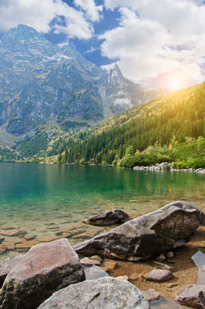 Landscape. Lake Sea Eye in the Tatra mountains photo