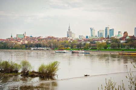 views of Warsaw over the Vistula River