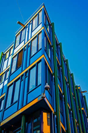 unusual angle: unusual blue corner house in Amsterdam Editorial