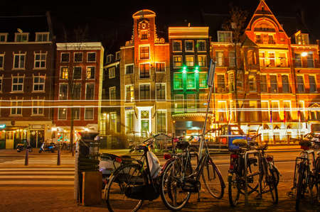Amsterdam street at night Stock Photo