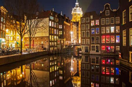 Amsterdam Straße in der Nacht Standard-Bild - 22630475
