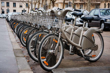 bicycle parking in Paris photo