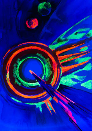 daubs: abstract drawing in fluorescent light on a blue background