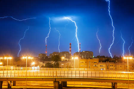 forked road: Lightning in the sky over the city