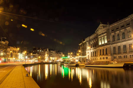 Amsterdam street at night photo