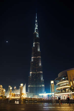 DUBAI, UAE - MARCH 6: Burj Khalifa on New Years Eve March 6, 2014 in Dubai, UAE. Burj Khalifa is the highest building in the world (828m). Located in Downtown Dubai, Sheikh Zayed Road.