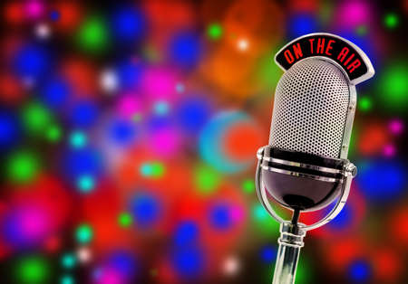microphone on a colorful bright background photo