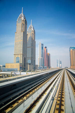 DUBAI, UAE -  5 MARCH, 2014: Dubai Metro as worlds longest fully automated metro network (75 km). March  5, 2014 Dubai, UAE.