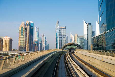 DUBAI, UAE -  3 MARCH, 2014: Dubai Metro as worlds longest fully automated metro network (75 km). March  3, 2014 Dubai, UAE.