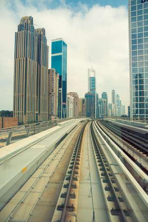 DUBAI, UAE -  4 MARCH, 2014: Dubai Metro as worlds longest fully automated metro network (75 km). March  4, 2014 Dubai, UAE.