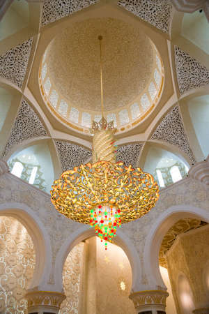 DUBAI, UAE - 4 MARCH, 2014: The famous Sheikh Zayed mosque is the largest mosque in UAE. March  4, 2014 Abu Dhabi, UAE.