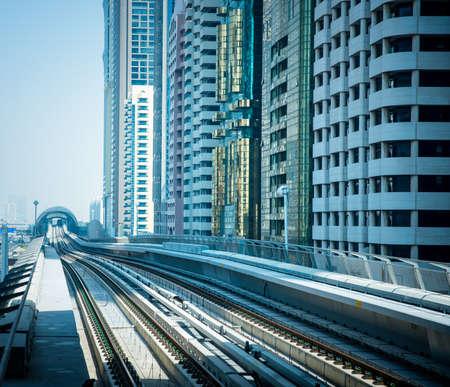DUBAI, UAE -  6 MARCH, 2014: Dubai Metro as worlds longest fully automated metro network (75 km). March  6, 2014 Dubai, UAE.