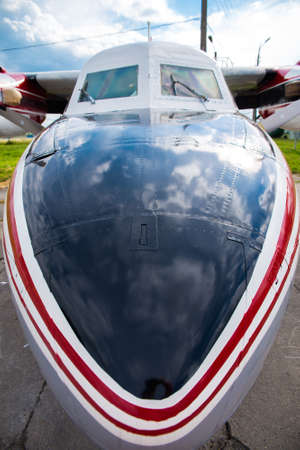 fixed wing aircraft: cabin of a small airplane, closeup Stock Photo