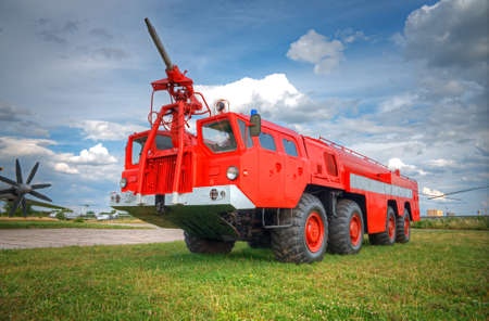 old service station: big red fire truck Stock Photo