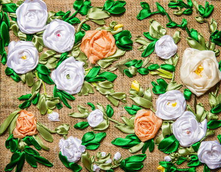 beautiful flowers embroidered ribbon photo