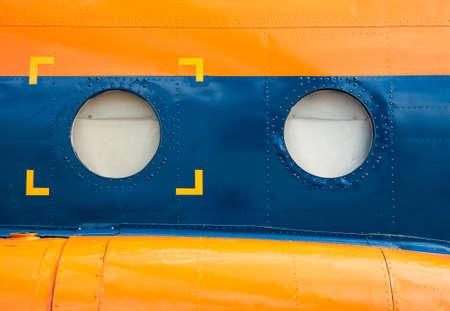 blue metallic background: orange and blue metallic background with portholes