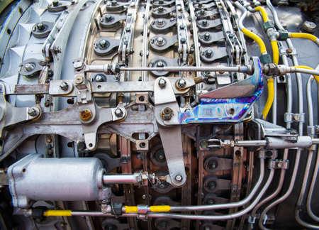 planos electricos: fondo, parte de un motor de avión Foto de archivo