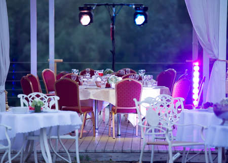 outdoor event: tables and chairs in the restaurant outdoors