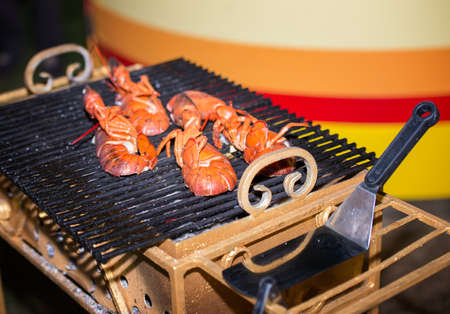 broiling: lobster fried on a grill