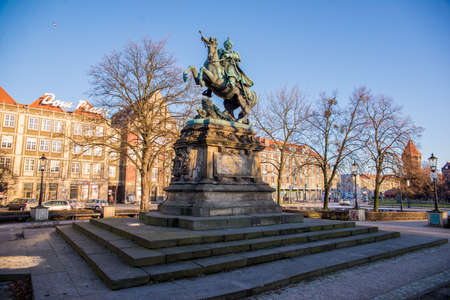 sobieski: GDANSK, POLAND - 4 JANUARY, 2015: Monument to John III Sobieski, from 1674 until his death King of Poland and Grand Duke of Lithuania, was one of the most notable monarchs of the Polish–Lithuanian Commonwealth. 4 January 2015, Gdansk, Poland. Editorial