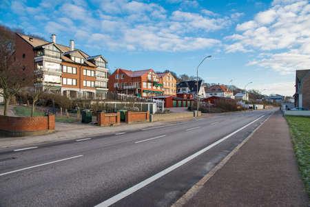 scandinavian peninsula: asphalt road in a residential area of Helsingborg Stock Photo