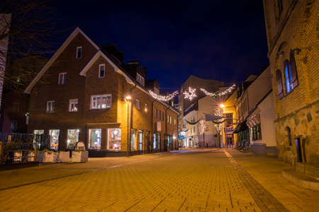 scandinavian peninsula: night streets of Helsingborg Stock Photo