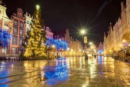 beautiful streets of Gdansk night